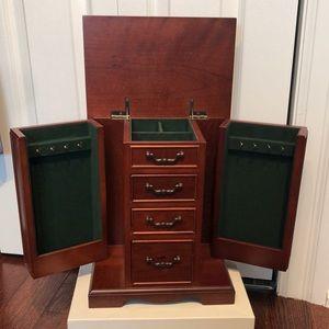Cherry wood jewelry chest